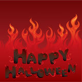 Halloween card with Flaming texture. And letters in devil style Stock Photo
