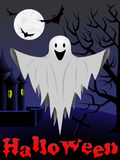 Halloween card with flying ghost Royalty Free Stock Photo