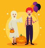 Halloween card with ghost disguise and clown. Vector illustration design royalty free illustration