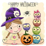 Halloween card with girl and owls Stock Image