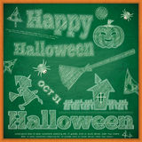 Halloween Card on green chalkboard Stock Photography