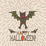 Halloween card with hand drawn bat in cute cartoon characters. On beige background. Vector hand drawn illustration Royalty Free Stock Image