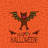 Halloween card with hand drawn bat in cute cartoon characters. On orange background. Vector hand drawn illustration Royalty Free Stock Photography
