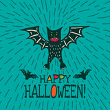 Halloween card with hand drawn bat in cute cartoon characters. On turquoise background. Vector hand drawn illustration Stock Photography