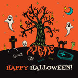 Halloween card with hand drawn cemetery landscape and scary elements Stock Image