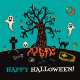 Halloween card with hand drawn cemetery landscape and scary elements Stock Photos