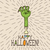 Halloween card with hand drawn dead man's arm Stock Photos