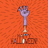 Halloween card with hand drawn dead man's arm Royalty Free Stock Image