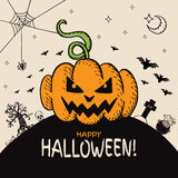 Halloween card with hand drawn pumpkin and cemetery landscape Stock Photo