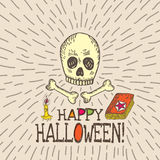 Halloween card with hand drawn skull, spell book and candle Royalty Free Stock Photos