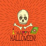 Halloween card with hand drawn skull, spell book and candle Royalty Free Stock Image
