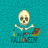 Halloween card with hand drawn skull, spell book and candle Royalty Free Stock Photography