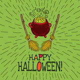 Halloween card with hand drawn witch's cauldron and broom Stock Photos