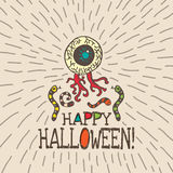 Halloween card with hand drawn zombie eye and worms Royalty Free Stock Images