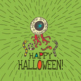 Halloween card with hand drawn zombie eye and worms Stock Photos