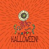 Halloween card with hand drawn zombie eye and worms Royalty Free Stock Photos