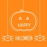 Halloween card with hanging pumpkin and spiders. Royalty Free Stock Photography