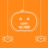 Halloween card with hanging pumpkin and two spider. Happy Halloween card with hanging pumpkin and two spiders Royalty Free Stock Images