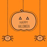 Halloween card with hanging pumpkin and two spiders. Dash line. Flat design. Stock Photo