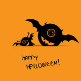 Halloween card with happy smile monsters Royalty Free Stock Photos