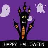 Halloween card. Haunted house silhouette with eyes, windows and flying transparent ghost spirit. Boo Funny Cute cartoon baby chara Stock Images