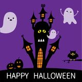 Halloween card. Haunted house silhouette with eyes, windows, pumpkins, owl and flying transparent ghost. Boo Funny Cute cartoon ba Royalty Free Stock Photos