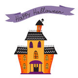 Halloween card with haunted house Stock Image