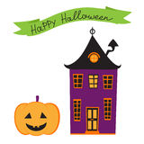 Halloween card with haunted house Royalty Free Stock Images