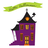 Halloween card with haunted house Stock Photography
