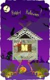 Halloween Card. With Hut on chicken legs Stock Photos