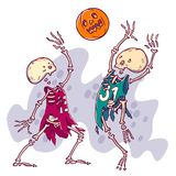 Halloween card illustration. Couple of dead basketball player with pumpkin scary ball. royalty free illustration