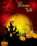 Halloween card. Illustration of a dark castle and halloween pumpkins on a hill Royalty Free Stock Images