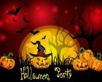 Halloween card. Illustration of spooky halloween pumpkins on an abstract background Stock Photos