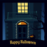 Halloween card, invitation with haunted old house and jack-o-lantern,  Stock Images