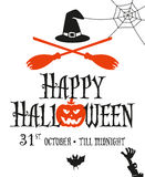 Halloween card invitation. Simple and minimal design. Two crossed broomsticks and withes hat Stock Photos