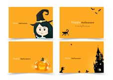 Halloween card lettering invitation greeting, happy party banner collection, cartoon flat design for kids vector illustration royalty free illustration