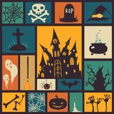 Halloween card. With modern flat elements. Vector illustration Royalty Free Stock Images