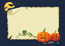 Halloween card, no gradients. Empty halloween card with pumpkins, sweets and bats Stock Images