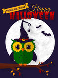 Halloween card with owl and bats. Royalty Free Stock Image