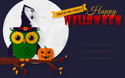 Halloween card with owl and pumpkin. Stock Photography