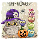 Halloween card with owls Royalty Free Stock Photos