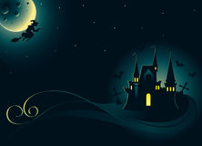 Halloween card with palace and witch. Halloween decorative card with castle and witch stock illustration