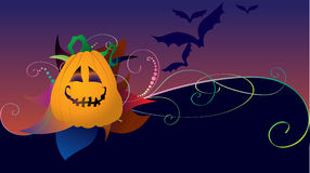 Halloween card with pumpkin. And bats Stock Image