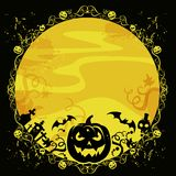 Halloween card with pumpkin and bats Royalty Free Stock Image