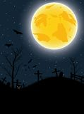 Halloween card with pumpkin, bats and big moon Stock Image