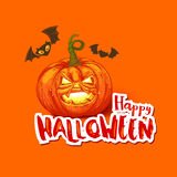 Halloween card with pumpkin and bats Royalty Free Stock Photo