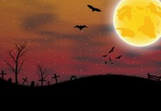 Halloween card with pumpkin, bats and moon Stock Images