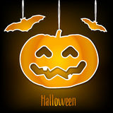 Halloween card with pumpkin and bats. Vector Stock Photography