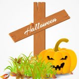 Halloween card with a pumpkin on a cemetery. Halloween card with a pumpkin and leaves on a cemetery. vector illustration Royalty Free Stock Photography