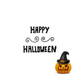 Halloween card with pumpkin in hat isolated on white. vector illustration